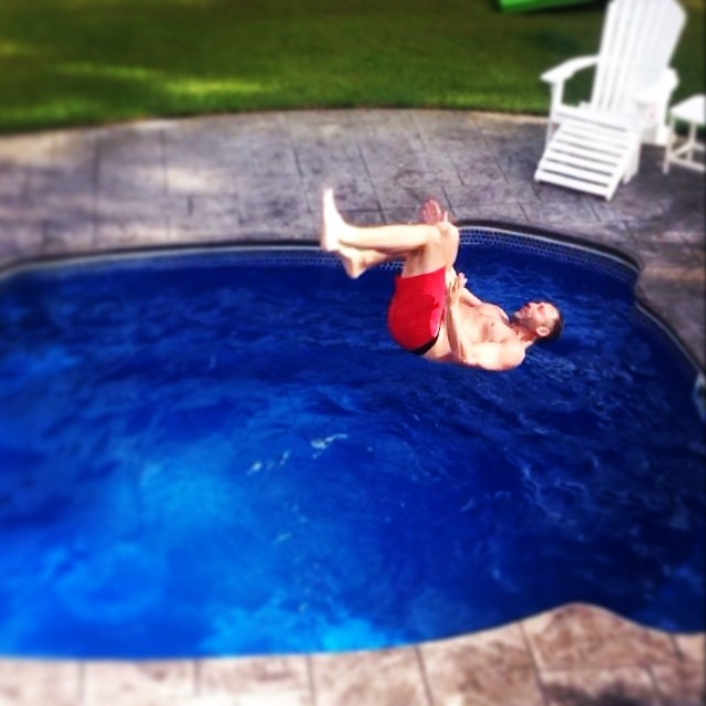 Backflips work best when wearing our #sustainable swim trunks a la @erict4t