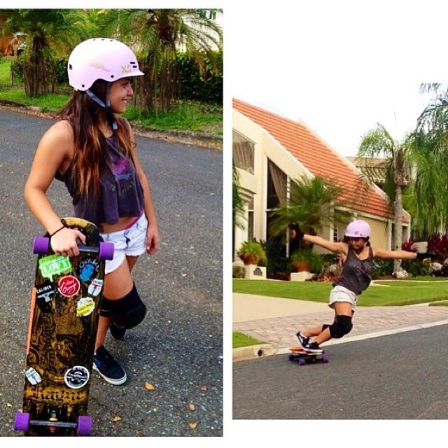 @keydennise from Puerto Rico looking good! Thanks for the shot Keyla! #longboarding #skateboarding #skate #xshelmets