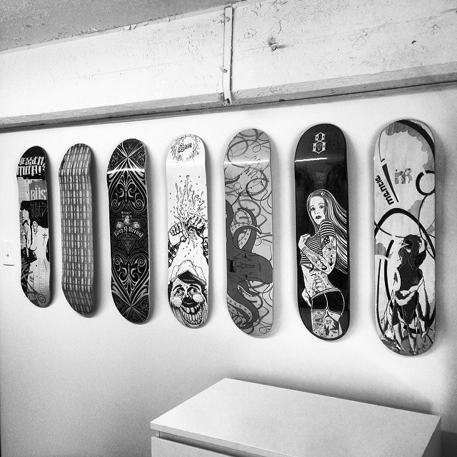 One of the deck walls finally up at the new #steezmagazine #HQ #skatedeck @kinseyvisual #mantle #magnetickitchen #mikegiant #rebel8 #fueltv #peabodyma