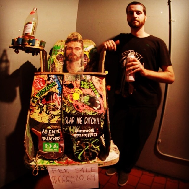 Throwing it back to the Bonzing art show with Dead Fred and his chair selling for $666,420.69.  This years Bonzing art show will take place on Saturday October 4, 2014. Stay tuned for more info.  #deadfred #bonzing #shapers #artists #sanfrancisco