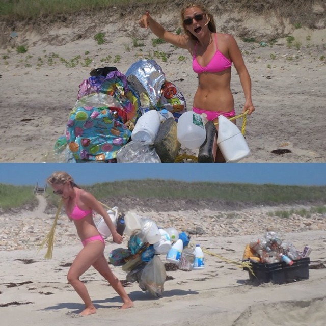 "Went for a beach walk in Martha's Vineyard at Zack's Cliffs that turned into a Macgyver style cleanup where I combined my survival skills with my love for the environment to create a ""trash sleigh!"" Before you buy a ""Happy Birthday"" ballon - think..."