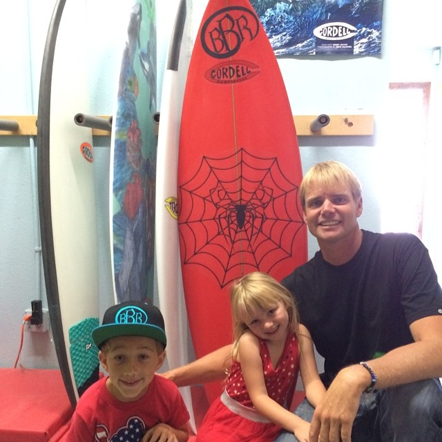Benjamin's first board. Thanks Cordy!  #firstboard #cordellsurfboards