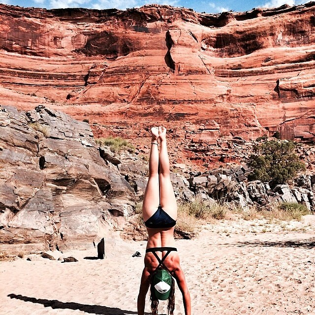 Regram from awesomely talented Natali Zollinger of @nautilussup! Hope you are having an epic trip on the Colorado River!  #riverfox #nautilussup #localhoneydesigns #coloradoriver #yoga #riveryoga #love #fourthofjuly #handstands #tavaurabottom #corinnetop