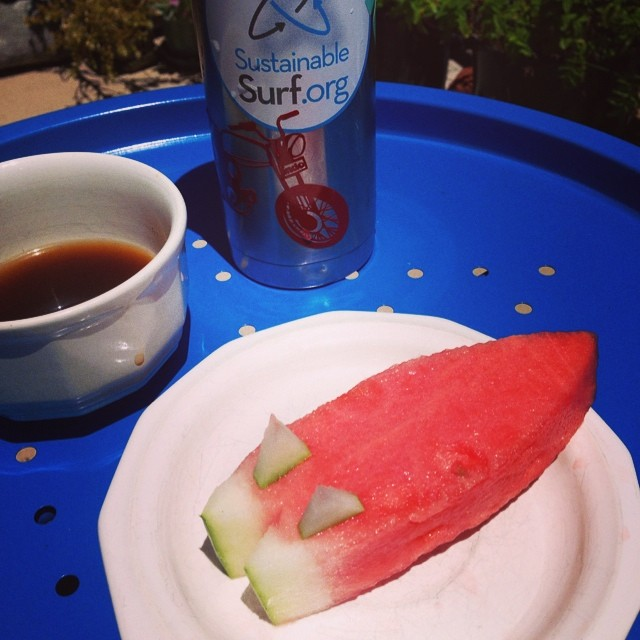 Local Watermelon, Coffee & Twin fins... Just three of my favorite things that make living in NorCal, and the old USA pretty great!  Have fun today everybody and make it the first day of your new - #DeepBlueLife