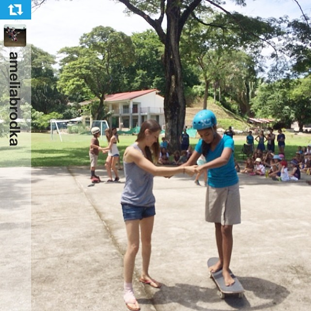 #Repost from @ameliabrodka who  is in Costa Rica teaching youth how to skate and speaking in schools about pursuing your #passions. Way to go Amelia! #rolemodel #skateboarding @poseidenfoundation @exposureskate