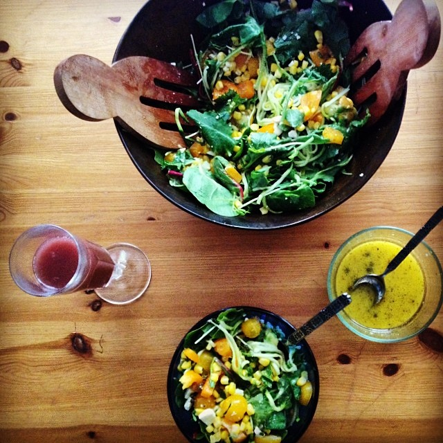 Lazy Saturday Lunch catching up on #jetlag and our #dvr @mcelberts // Acai Mimosas  Spiraled Zucchini with  Kale, Spinach, Chard mix and  Yellow tomatoes, Orange pepper, Apricot, Avocado, Corn, Pea shoots, Feta, Scallions  Vinaigrette: Olive oil, White...