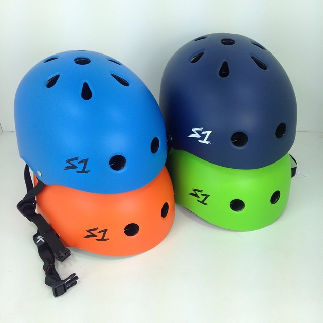Pretty much every color of the rainbow of S1 Lifer Helmets in stock. Red, Orange, Yellow, Greens, Blues, Purple and Pink. The S1 Lifer is 5x more protective than a regular #skatehelmet.
