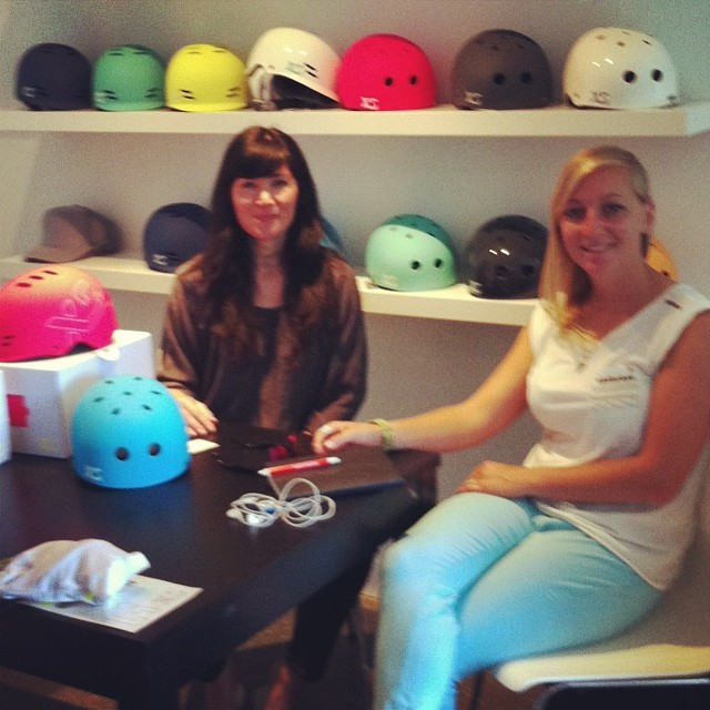 Talking biz this morning with the lovely @gabsincpt at the @xshelmets HQ #lineshow @boardhub #canada #xshelmets #longboarding #skate
