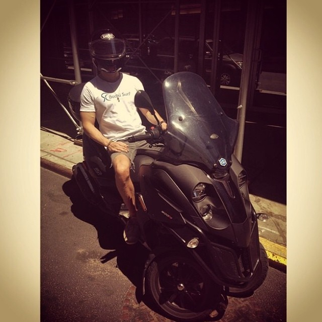 Regram: our friend Kate posted this picture of her fiancé Lance riding his Piaggio scooter through the streets of New York City. The Bodhi t-shirt has never looked this cool.