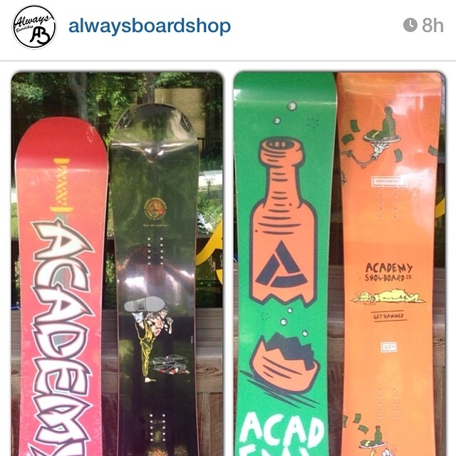 Boards keep landing across the country!! If you're in PA, make sure to go by @alwaysboardshop and check out our 14/15 line!! #regram #goodpeople #greatsnowboards #academykidsrule #7springs #propaganda #propacamba #gethammed
