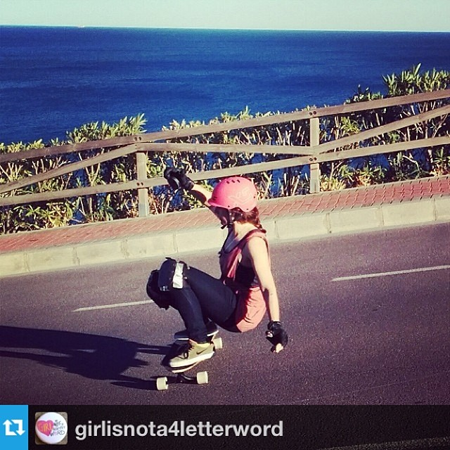 @xshelmets team rider @sonsomasia is featured on @girlisnota4letterword today! She's fast, an awesome Freerider and a big sweetheart. Article on www.girlisnota4letterword.com #longboarding #longboardgirlscrew #xshelmets