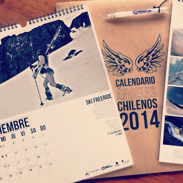 Que fecha es hoy?! Mira! Es invierno todavia?! En Sudamerica es invierno ahora... Panda Athlete Sole Diaz Munoz graces the pages of the 2014 Calendaria de Angeles Chilenos. Deciembre never looked so good... Panda Poles estan disponibles ahora en Chile...