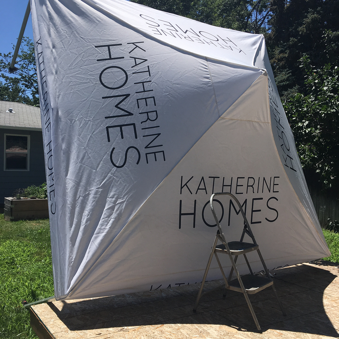 """Behind the scenes glamor shots of owning your own business. Nobody tells you that seam sealing your tent is necessary, especially when it rains. DIY- Missing my 6 4"""" man right about now :) hope the wind doesn't pick up! #supportsmallbusiness #hardwork"""