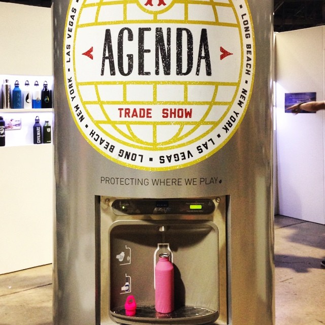 We're wandering around @agendashow in Long Beach today, trying out the brand new #PINK @mizulife bottle benefitting B4BC, to be released in October!!