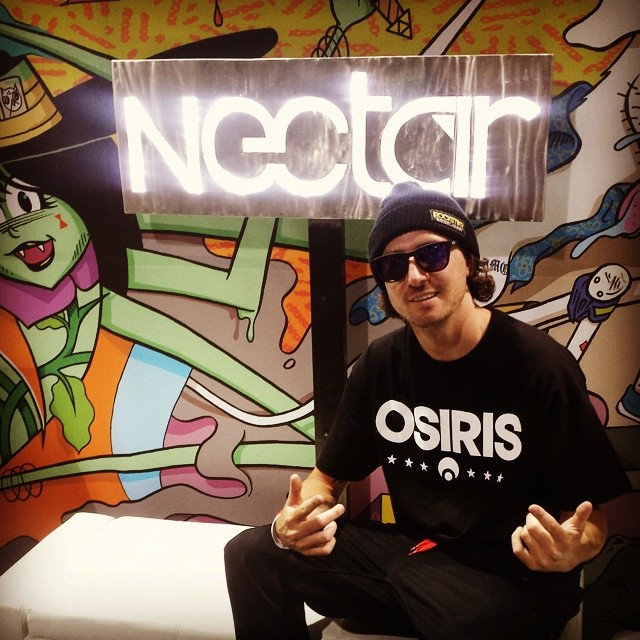 Advocate @greglutzka chillin' at #agendashow! Come by C12 for a good time! || #nectarshades #thesweetlife #doepicshit