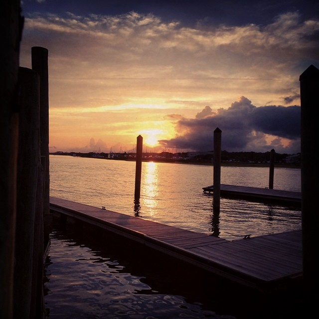 Tahoe sunsets are hard to beat but this one in Southport, NC is competing hard | #oldamericanfishco #safehaven #bonita