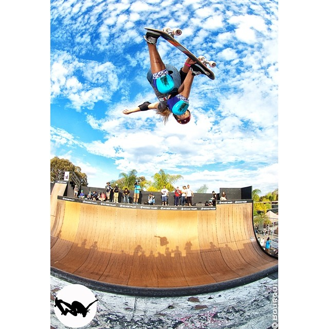 Alana Smith, #EXPOSURE2013.  If you want to see Alana blasting on this ramp in person, she's slated to be at @clashatclairemont this Saturday!  #skateboarding #skateboard #skate #skatelife #skatergirl #skatevert #vert