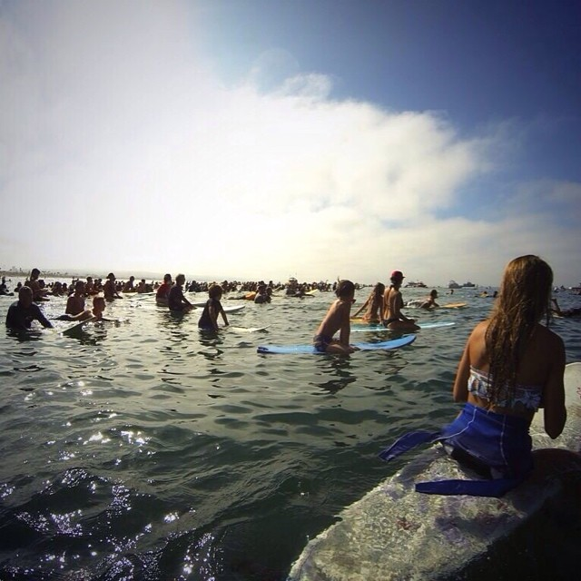 """Paddle Out this past Sunday morning in Honor of Newport Beach lifeguard Ben Carlson 