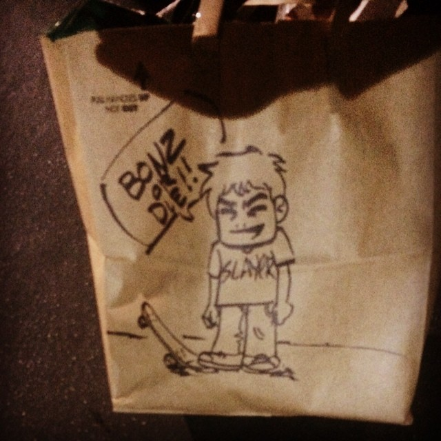 Team rider Michael Carson--@mcarsonlikescats with a rad doodle on his grocery bag.  Slayer! Bonz or die!  #michaelcarson #skateboarding #art #bonzing
