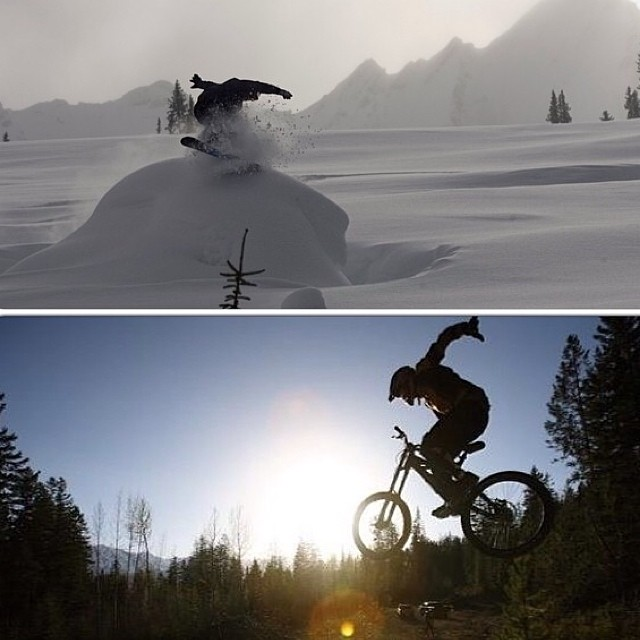 Team rider from #Canada @goldenrider420 stays busy all year round.⛄️#frostyheadwear #snowboarding #mountainbiking