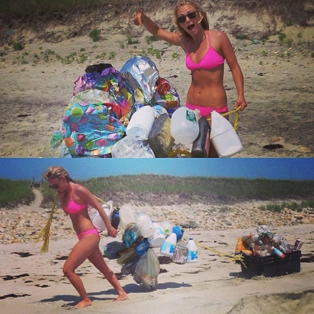 @alisonsadventures spent some time in #MarthasVineyard and had to help out! #Plastics can be #recycled into new products like our #bikinis! Plastic trash consuming our earth is a growing issue! You can support Alison by purchasing her Alison's...