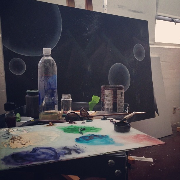 In the studio, painting things. #werkinprogress #abstraction #ambrosial #finefarts #oil
