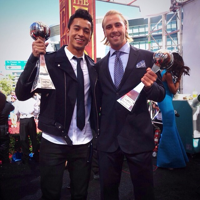 Congrats @nyjah_huston for winning best male action sports athlete & @sagekotsenburg for best male Olympian! #ESPYS