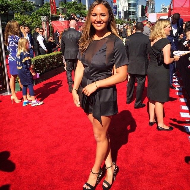 Best female action sports athlete nominee @rissmoore10 rocking the red carpet! Tune in to @espn to watch the 2014 #espys