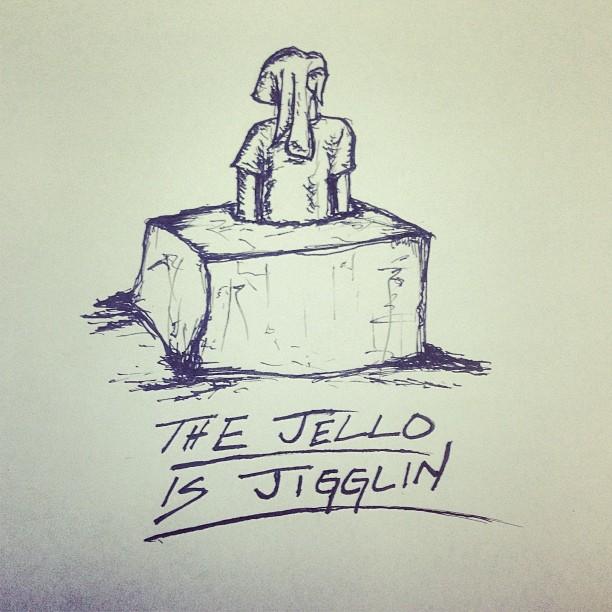 It's Friday // the jello is jigglin! #fridaysarecool #jiggle #jello #doodlopigus #strawberry