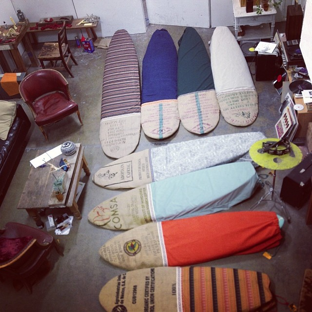 "Aloha @mollusksurfshop San Francisco! Be there soon - 9'6, 9'0, 8'6, 8'0, 7'6, 7'0, 6'0 and 5'6"". Love + recycled materials #sagebrushbags"