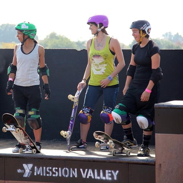 Renata Paschini, Lyn-z Adams Hawkins Pastrana and Gaby Ponce on deck at #EXPOSURE2013. #skateboarding #skateboard #skate #skatelife #skatergirl #skatevert #vert