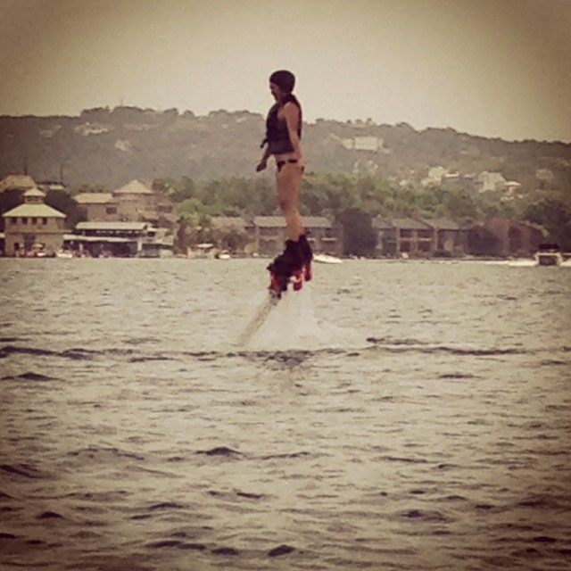 New sport on Lake Austin! Water jet pack flying! #keepitfresh #lakeaustin #ATX
