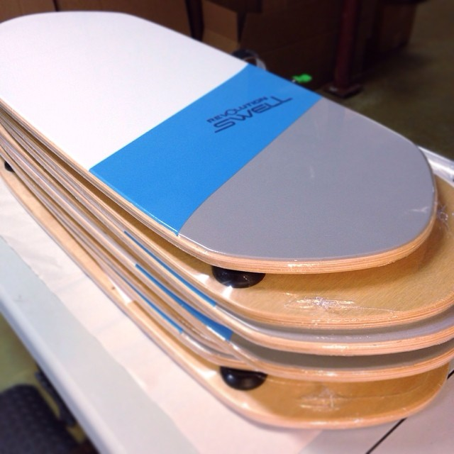 Shrink wrapping some new Swell Orders :) #balanceboard #paddleboard