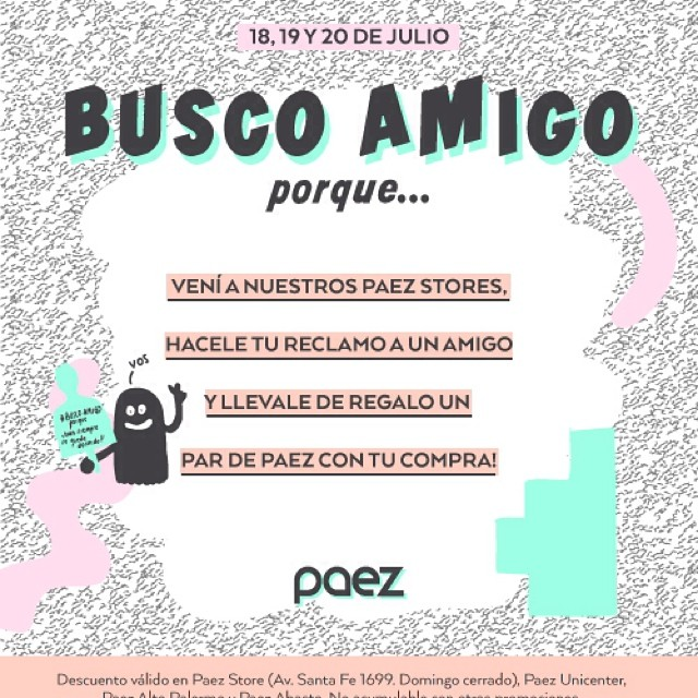 Hoy! 2x1 en nuestros stores de unicenter,alto palermo y abasto #buscoamigo #diadelamigo #paezselfie