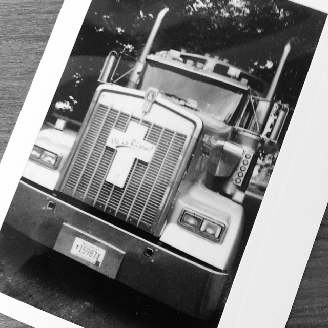 Just got our #Polaroid from @bafetus cross country road trip. #roadtrip #trucker #heisrisen #bigrig