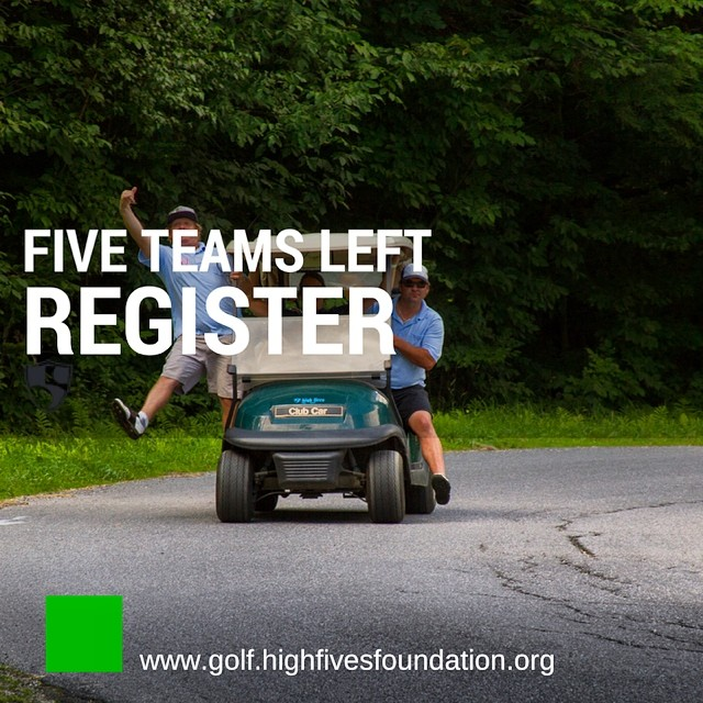 Only FIVE team spots left! Reserve yours today for the 2nd Annual High Fives East Coast Charity Golf Tournament (Fri. Aug 22) at @sugarbush_vt || Info in profile. #HighFivesGolf