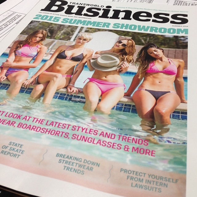 @transworldbiz #swim issue #cover #shot! Couldn't resist this early #release! @cairusso @rocky_barnes @kyliecusick and @bikinibird #make our 2015 #collection look #amazing! Come see us at #swim #collective! #photo @jenavieve #spoileralert