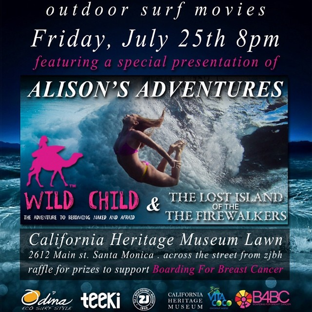 Hope you can make the premiere of two of my Alison's Adventures films put on by @zjboardinghouse  Where: Santa Monica California Heritage Museum Lawn 2612 Main Street, Santa Monica CA 90405 (Across the st. from ZJs surf shop)  When: 8pm Friday July...