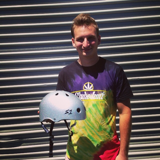 Alex from @valhallaskateboards stopped by to pick up some #lifer #helmets for the #downhill #skate #team . This is a #silverglitter #s1 #lifer #helmet. #ziggystardust