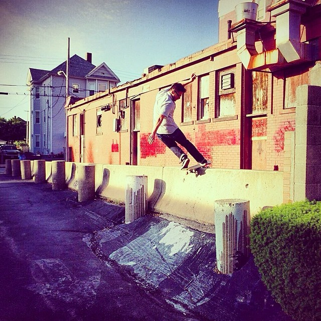 A crusty bank to barrier gets frontside rocked by @nattybumppo_ in New Bedford, Ma.  @anthonyshetler