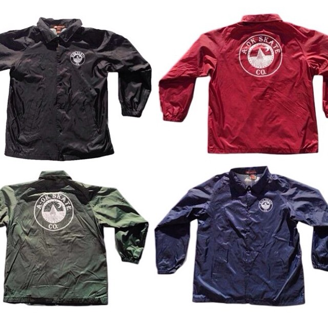 Windbreakers with A-Ok logo in black, maroon, forrest green, navy blue available at www.aokskateco.com
