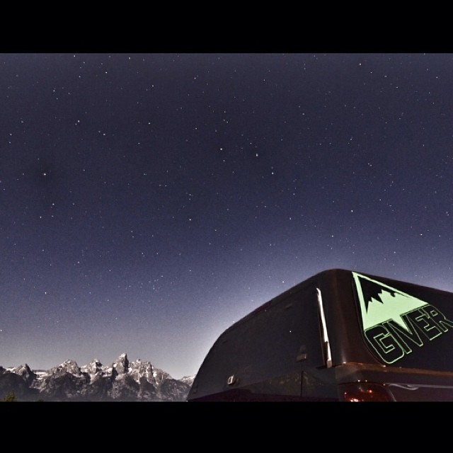 "Huge shoutout to @m5doherty for capturing this ""grand"" night shot of the #tetons and Give'r mobile from Shadow Mtn. #jacksonhole #jacksonsuckstellyourfriends #aintlifegrand #camping #longexposure"