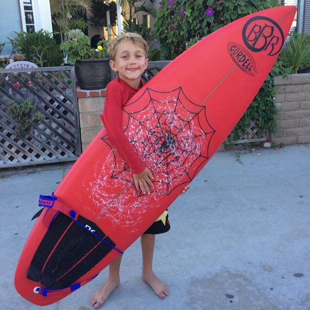 Benjamin is stoked to take his new Cordell Surfboard out in the water for the first time. #cordellsurfboards #benjaminstone