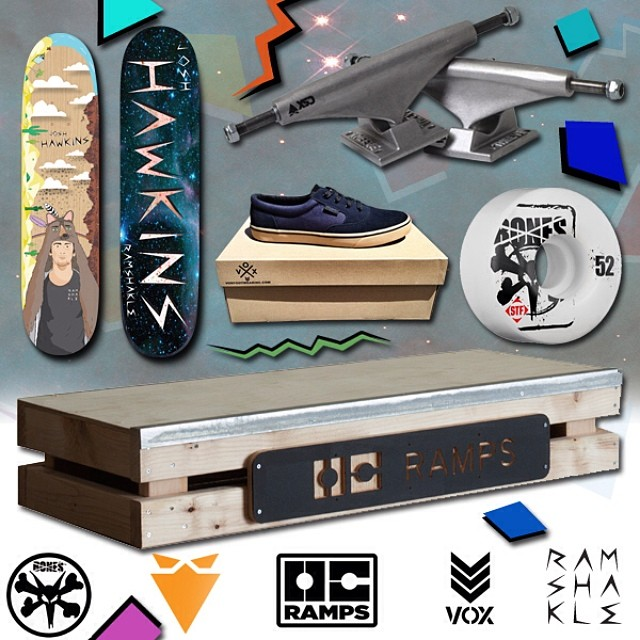 Just a few of the prizes were running for our @josh_hawkins comp! Post a pic or vid of you shredding some ditches and @gramshakle and #ditchandwin  Thanks @boneswheels @theevetrucks @oc_ramps @voxskateboarding
