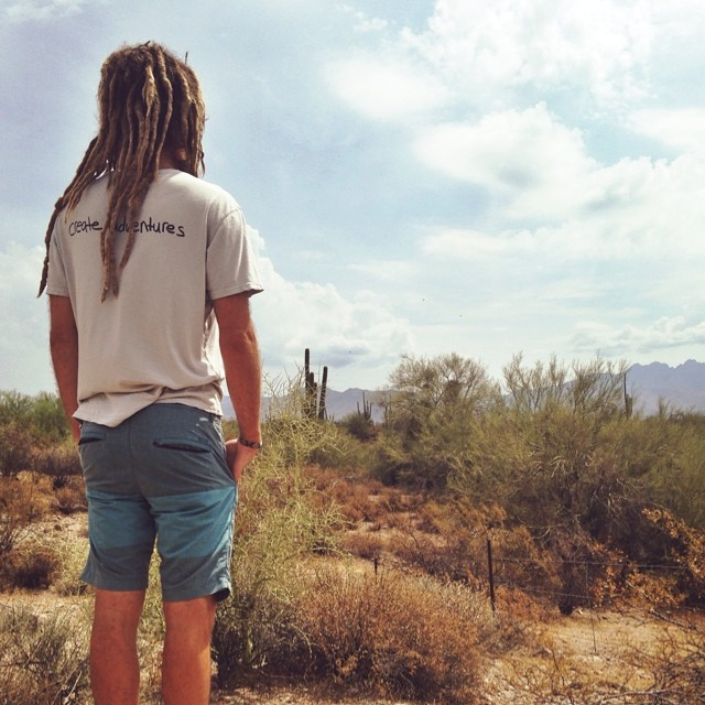 Men's Adventure tee deep in the Arizona desert