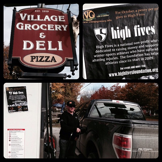 High Fives board member Jesse Murphy of @vtn orthskishop knows that 1cent from every gallon pumped at the VG in Waitsfield for the month of October goes to #highfivesfoundation