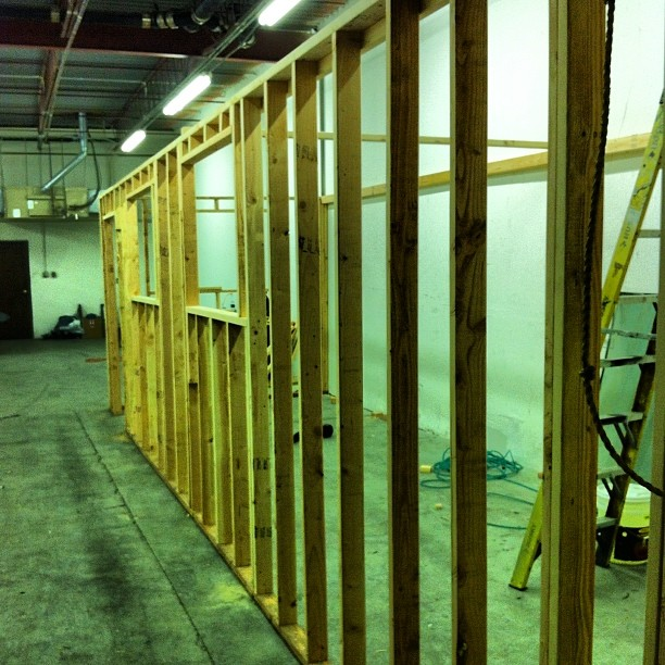 Almost 2 years ago since we moved into our new shop! Framing up the sublimation room. #tbt #madeintheUSA
