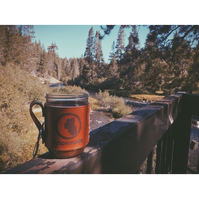 Morning cups, or jars rather, on the Truckee River // See y'all @truckeethursdays tonight...oh and we're having a party on Saturday - check the feed for more info // #tahoemade #thisistahoe #blessed
