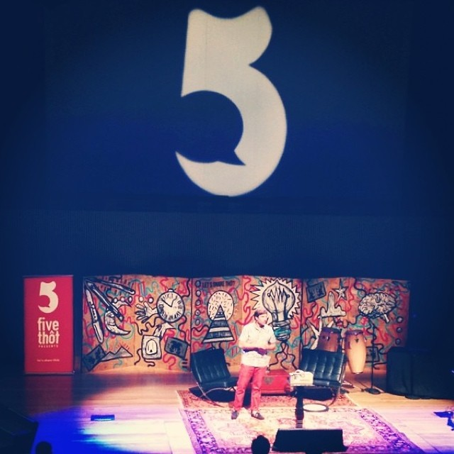 Kyle Parsons, Co-Founder of indosole, talking story on stage for a night of social good with @fivethot #fivethot #soleswithsoul
