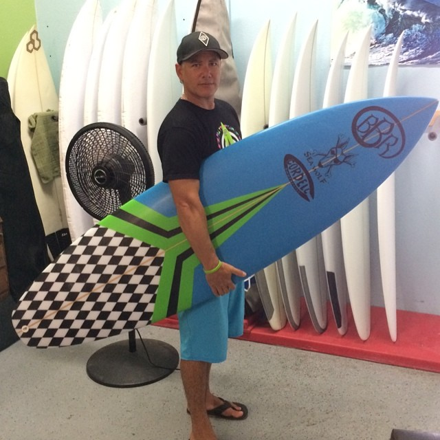 Matt Stone of BBR Surfwear gets his new Cordell Surfboard.  Magic!  #bbr #bbrsurf #buccaneerboardriders #surfboard #cordellsurfboards